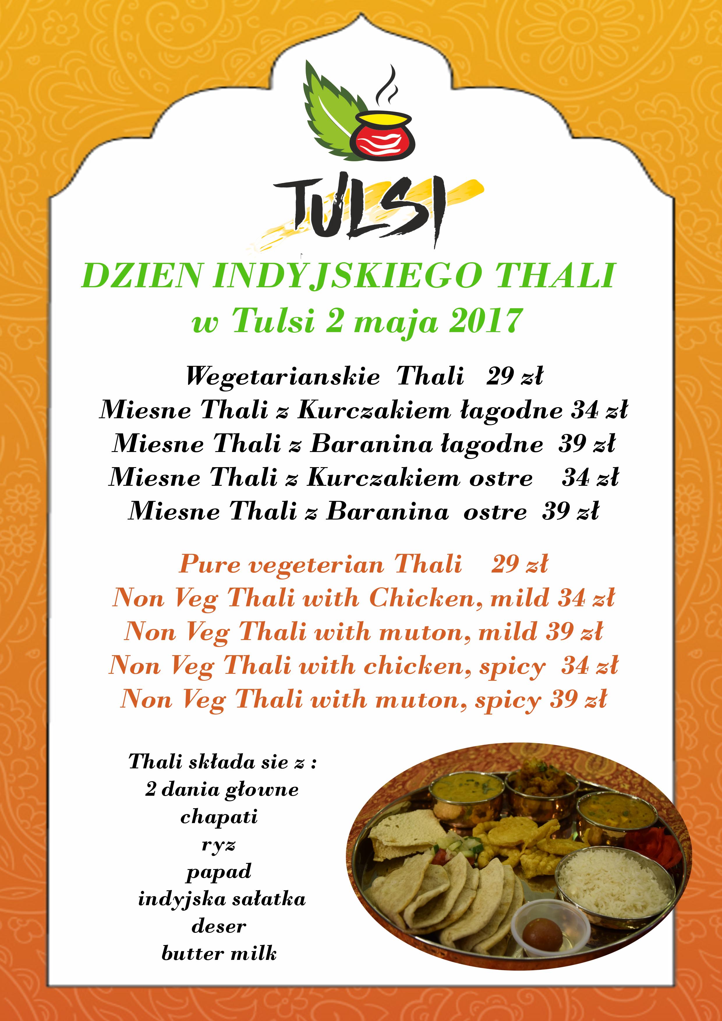 Thali menu do wyboru