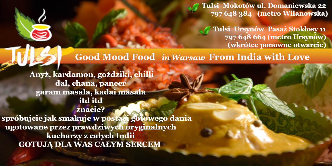 Tulsi Good Mood Food Restaurant Autentyczna Oryginalna Kuchnia Indyjska Promujaca Dania Wegeterianskie Weganskie Ajurwedyjskie
